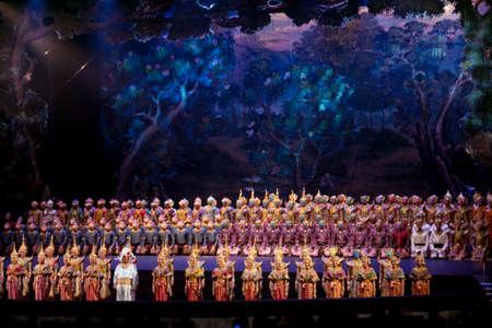 BANGKOK - NOV 15: Khon Performance, The Battle of Indrajit Episode of Prommas 2015, in Thailand Cultural Center, Main Hall on November 2, 2015 Bangkok, Thailand.
