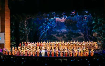 khon: BANGKOK - NOV 15: Khon Performance, The Battle of Indrajit Episode of Prommas 2015, in Thailand Cultural Center, Main Hall on November 15, 2015 Bangkok, Thailand.