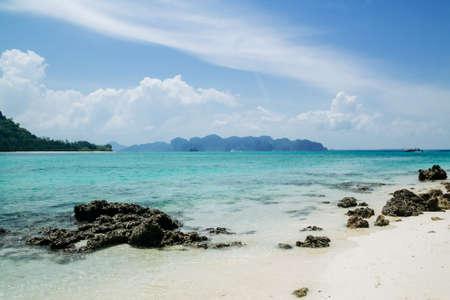 Clear water and blue sky. Tropical beach, Krabi, Thailand,