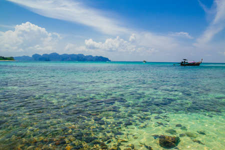 Clear water and blue sky. Tropical beach, Krabi, Thailand,