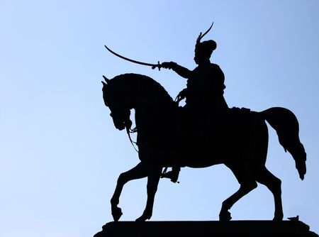 Monument to Ban Jelacic on city square, Zagreb, silhouette photo