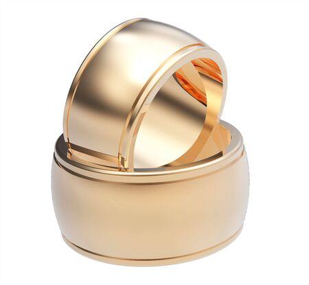 Dos anillos de boda, procesamiento, aislados en blanco  Foto de archivo