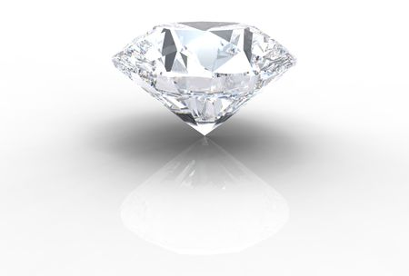 queen of diamonds: diamond gemstone isolated on white with shadows