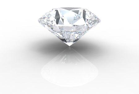 millonario: gema de diamante aislado en blanco con sombras Foto de archivo