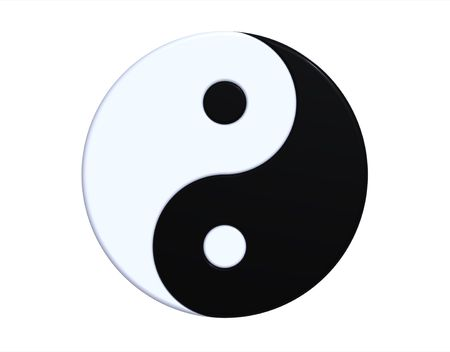 Ying-yang symbol isolated on white, 3d render photo