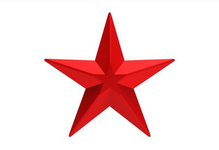 Red star five branch isolated on white 3d render