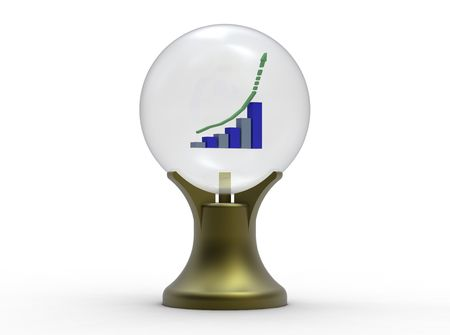 Business forecast with crystal ball isolated on white photo