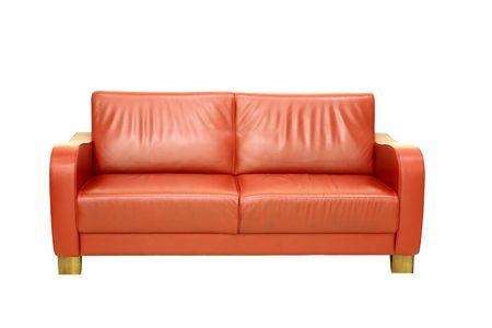 Red sofa isolated on white background photo