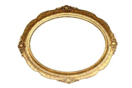 �valo: Marco de madera de imagen aislado en blanco revestidos de oro