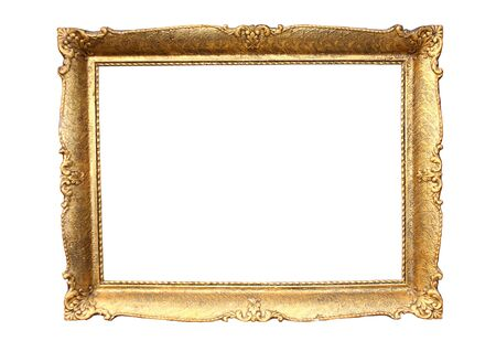 Gold plated wooden picture frame isolated on white Stock Photo