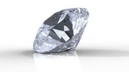 scintillate: gema de diamante aislado en blanco con sombras Foto de archivo