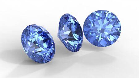 Three blue diamonds with shadows isolated on white  photo