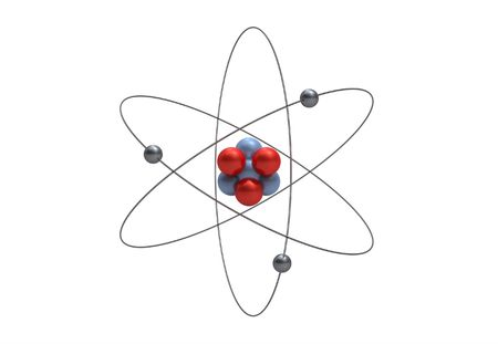 Stylised representation of the model of a lithium atom isolated on white Stock Photo