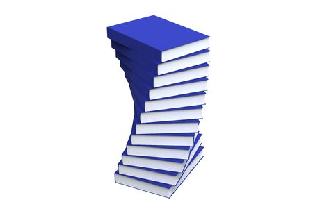 stack of blue books isolted on white photo