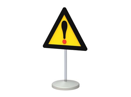 Traffic sign danger on the road isolated on white photo