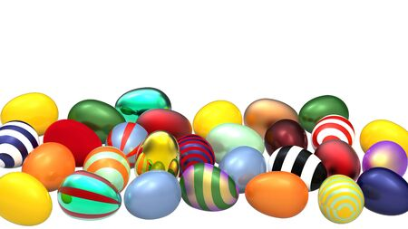 A lot of colored eggs on white background, 3d render photo