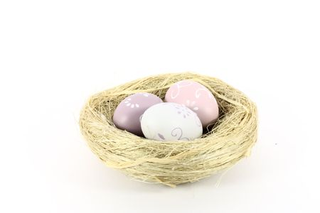 A bird nest with colored eggs isolated on white photo