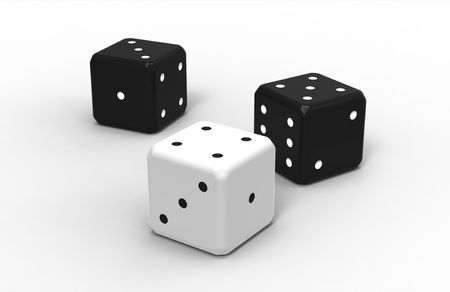 Three dices, render,  isolated on white background photo