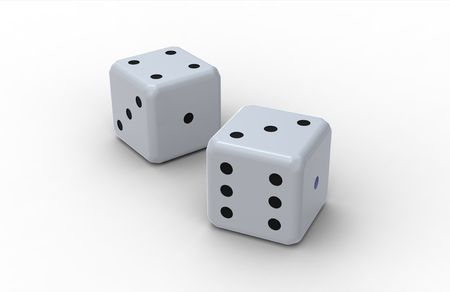 Two dices, render,  isolated on white background photo
