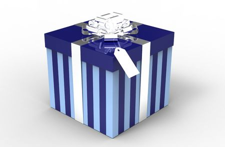 Blue gift box with argent ribbon isolated on white photo