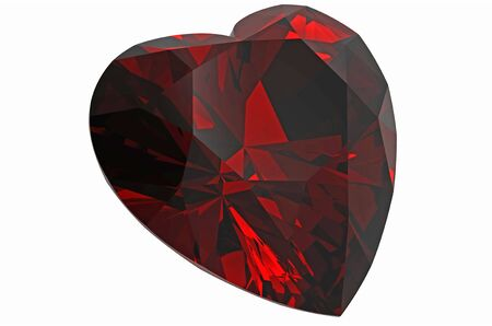 diamond in form of heart ruby isolated on white photo