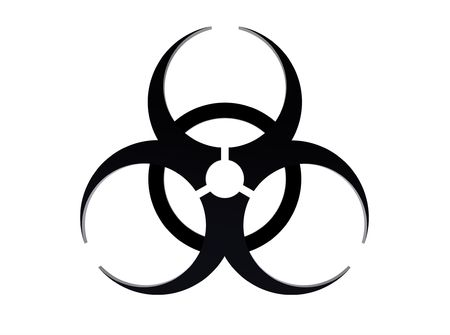 Biohazard sign isolated on white 3d render photo