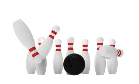 White skittles and black ball isolated on white, bowling, 3d render photo