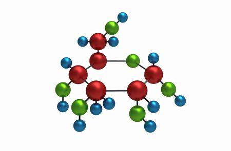 Molécula de glucosa, procesamiento de 3D, aislado en blanco  Foto de archivo