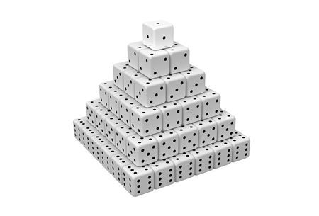 totality: Pyramid made of dices isolated on white 3D render Stock Photo