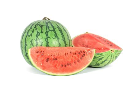 Water melon with two pieces isolated on white photo
