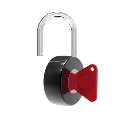 Unocked padlock isolated on white 3d render Stock Photo - 7903099