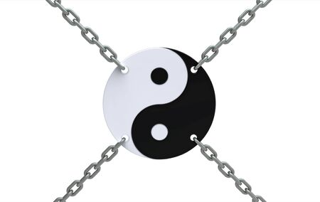 Yin-yang symbol in chains isolated on white, 3d render photo