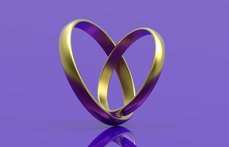 Two wedding rings, render, isolated on purple background photo