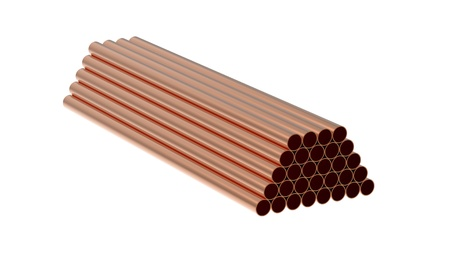 Stack of copper tubes isolated on white 3d render Stock Photo