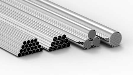 Stack of metal tubes isolated on white 3d render Stock Photo - 8304720