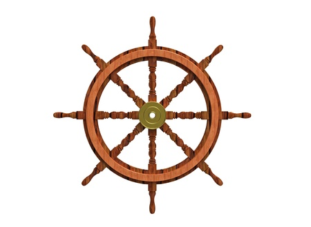 Wooden ship steering wheel isolated on white 3d render photo