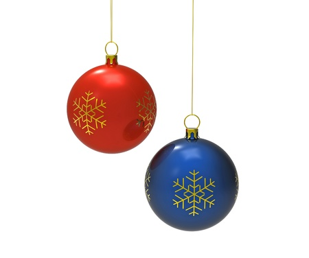 Red and blue christmas balls isolated on white 3d render Stock Photo