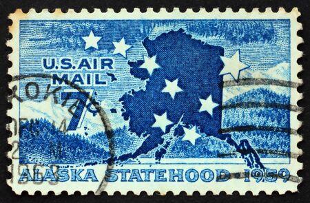 statehood: Alaska statehood Issue Big Dipper, North Star and Map of Alaska Stock Photo