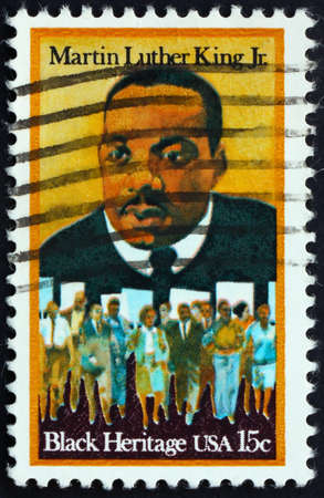 marchers: United States of America - circa 1979: a stamp printed in the United States of America shows dr. Martin Luther King Jr. And civil rights marchers, Black heritage, circa 1979