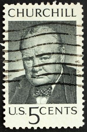 spencer: United States of America - circa 1965: a stamp printed in the United States of America shows Sir Winston Spencer Churchill British statesman, circa 1965 Stock Photo