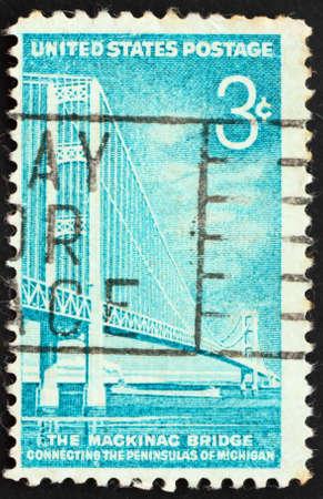 mackinac: United States of America - circa 1958: a stamp printed in the United States of America shows Mackinac Bridge, Michigan, circa 1958