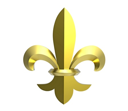 Fleur de lis 3d render isolated on white