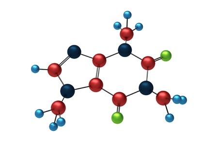 molecula: Mol�cula de cafe�na render 3d aislado en blanco