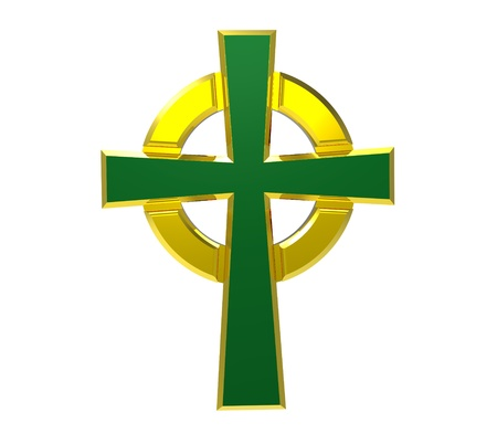 Celtic cross isolated on white 3d render Stock Photo