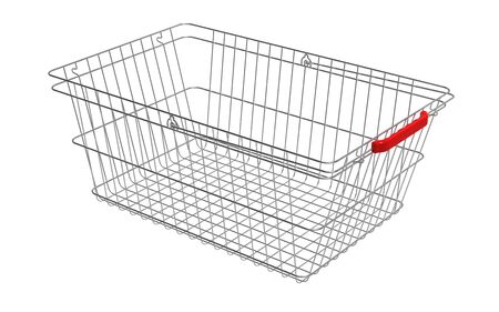 Empty shopping basket isolated on white 3d render Stock Photo