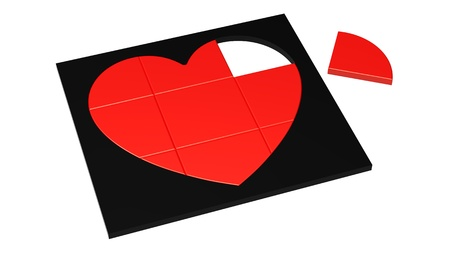 unsolved: Unsolved puzzle red heart in black frame isolated on white