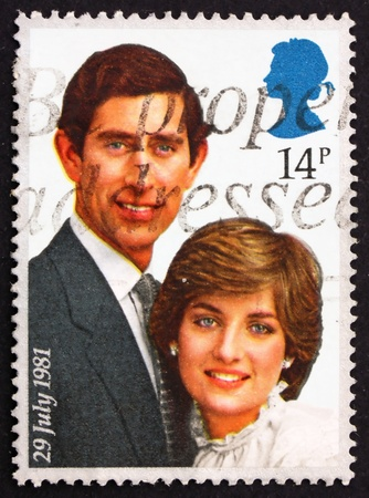 lady diana: GREAT BRITAIN � CIRCA 1981: a stamp printed in the Great Britain shows Prince Charles and Lady Diana, circa 1981