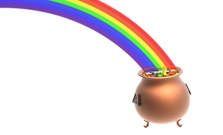 Copper pot full of gold coins at the end of rainbow photo