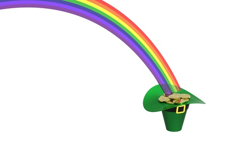 end of rainbow: Hat full of gold coins at the end of rainbow