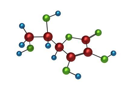 quimica organica: Mol�cula de vitamina c procesamiento 3d aislado en blanco Foto de archivo